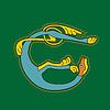 Ornamental keltischer Löwe als Anfangsbuchstabe E