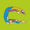 Ornamental Anfangsbuchstaben C als Löwe