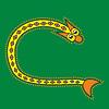 Ornamental Anfangsbuchstaben C als Schlange