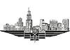 Stadtbild und die Skyline von Chicago, Illinois | Stock Vektrografik