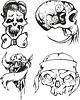 Set von Tribal Tattoo Skizzen mit den Schädeln