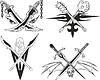 Gekreuzte Dolche, Schwerter und Keulen