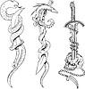 Tattoo Skizzen mit Schlangen, Dolche und Schädel