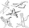Schwarz-Weiß-Skizzen von Klingen und alte Waffe
