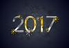 Vektor Cliparts: Goldene und silberne 2017 Neujahr Hintergrund