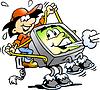Karikatur-Computer Neard Riding Schirm