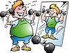 Cartoon Fat Bewegungs Man macht Fitness