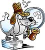 Papier Dog Detective Maskottchen
