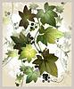 Historische Postkarte mit Efeu und Beeren. Eisschießen