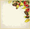Glückwunschkarte mit Herbstbeeren und Blätter. Autum