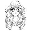 schöne Mode Mädchen in Hut