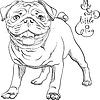 Векторный клипарт: Эскиз милый пес черный мопс порода