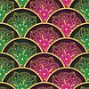 Vektor Cliparts: Jahrgang nahtlose Muster mit roten und grünen Kreisen
