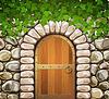 Steinwand mit gewölbter mittelalterlichen Holztür und