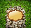 Steinmauer mit Holzschild und Blätter