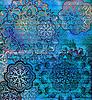 Blaues Blumenmuster auf strukturierten goldenen Hintergrund | Stock Illustration