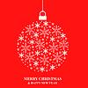 Vektor Cliparts: Weihnachtskugel von weißen Schneeflocken