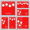Vektor Cliparts: Weihnachten Schneeflocken und Kugeln Rote Karte und Fahne