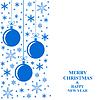 Vektor Cliparts: Weihnachten blauen Kugeln und Schneeflocken Karte vertikale