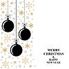 Vektor Cliparts: Weihnachten Gold Schneeflocken und Kugeln Karte vertikale