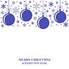 Vektor Cliparts: Weihnachten blauen Kugeln und Schneeflocken-Karte