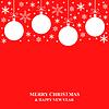 Vektor Cliparts: Weihnachten Schneeflocken und Kugeln Karte auf rotem