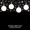 Vektor Cliparts: Weihnachten Gold Schneeflocken und Kugeln Karte