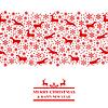 Vektor Cliparts: Weihnachtskarte mit Schneeflocken und Hirsche