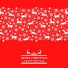 Vektor Cliparts: Weihnachten rote Karte mit Schneeflocken und Hirsch