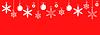 Vektor Cliparts: Weihnachten roten Banner mit Schneeflocken Kugeln hängen