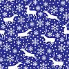 Vektor Cliparts: Muster nahtlos mit Schneeflocken und Hirsch