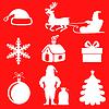 Vektor Cliparts: Weihnachten Silhouette auf rotem Hintergrund