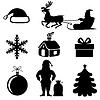 Vektor Cliparts: Weihnachten Silhouette Set