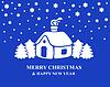 Vektor Cliparts: Weihnachtskarte mit eingeschneiten Haus