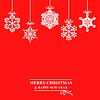 Vektor Cliparts: Weihnachten rote Karte mit Hang dekorativen Schneeflocken