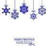 Vektor Cliparts: Weihnachtskarte mit Hang dekorativen Schneeflocken