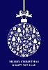 Vektor Cliparts: Weihnachten blaue Kugel Karte