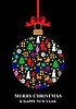 Vektor Cliparts: Weihnachten mehrfarbige Kugel Karte