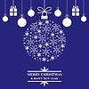 Vektor Cliparts: Weihnachten blau Grußkarte mit Schneeball und Geschenke