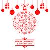 Vektor Cliparts: Weihnachtsgrußkarte mit Schneeball und Geschenke