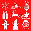 Vektor Cliparts: Weihnachten-Symbol auf rotem Hintergrund