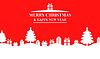 Vektor Cliparts: Gruß rot Weihnachten Banner mit Tanne und Geschenke