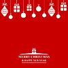 Vektor Cliparts: Weihnachtsgrußkarte mit Kugeln und Geschenk