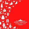 Vektor Cliparts: Weihnachtsglückwunschkarte auf rotem Hintergrund