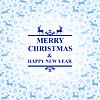 Vektor Cliparts: Weihnachten blaue Karte mit Schneeflocken und Hirsch