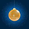 Vektor Cliparts: Orange Weihnachtskugel auf blauem Hintergrund mit Doodl