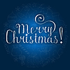 Vektor Cliparts: Weiße Weihnachten Schriftzug auf blauem Hintergrund mit