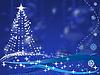 Vektor Cliparts: Weihnachtsbaum auf blauem Hintergrund mit Kugeln