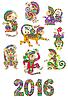 Set in verschiedenen Farben dekorative monkey -