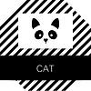 Векторный клипарт: Шаблон для животных кошки